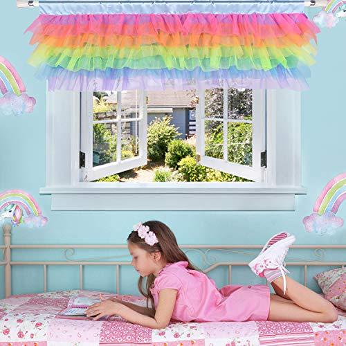 Rainbow Valance for Girls Bedroom Tulle Tutu Unicorn Valance for Baby Nursery Room Window 52