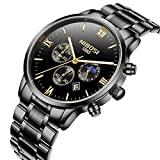 Mens Watches Automatic Date Chronograph Watch Men Sports Watches Waterproof 30M Full Steel Quartz Men's Black Watch
