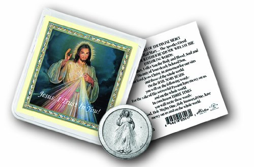 Prayer Folder - Divine Mercy Coin in Clear Folder with Prayer Blessed By Pope Francis