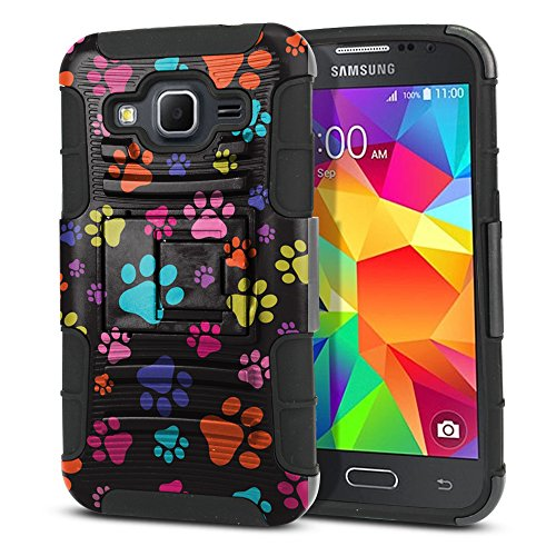 FINCIBO Case Compatible with Samsung Galaxy Core Prime G360 Prevail LTE, Dual Layer Hybrid Curve Rigid Armor Heavy Duty Protector Cover Stand Soft TPU for Galaxy Core Prime G360 - Multicolor Paws Dog
