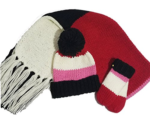 Kate Spade Hand Knit Colorblock Hat,Scarf,Mittens Set, Red/Cream/Black