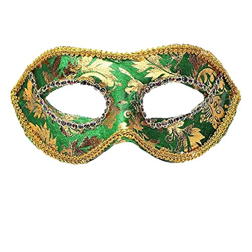 Men's Classic Foiled Costume Eye Mask Masquerade Party Cosplay Fancy Ball Mask - Green - Edging Piped