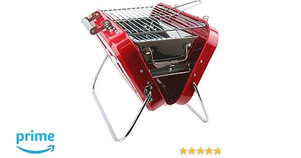La Chaise Longue - Barbacoa portátil de carbón, maleta roja de acero inoxidable 37-1J-006: Amazon.es: Jardín