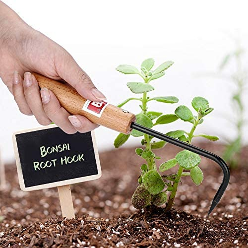 KSTEE Crochet for bonsaï Crochet en Racine de bonsaï Robuste en Acier au manganèse avec poignée en Bois Confortable Outils de Jardinage Poignée en Bois de Jardin Crochet for bonsaï