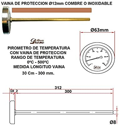 ALECOOK PI300 PIROMETRO DE 300MM, Acero: Amazon.es: Hogar