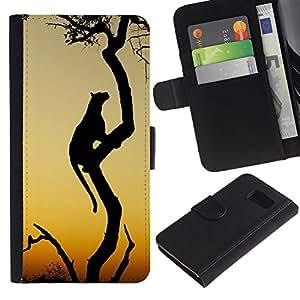 KingStore / Leather Etui en cuir / Samsung Galaxy S6 / Cat africaine Wilderness Sunset