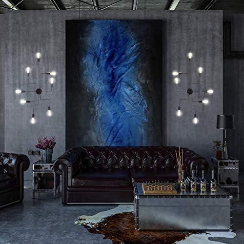 Relaxdays Deckenleuchte Industrial, 8-flammig, Lampe für Wand & Decke, Metall, E27, Loft Deckenlampe Vintage, schwarz