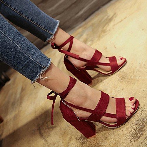BUIMIN - Las Mujeres Sandalias Moda Tacón Alto De Tobillo Fiesta Open Toe Shoes, Talla 34-43, Color Diferente vino rojo