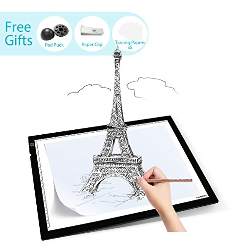 Huion 23.5 Inch LED Light Box Tracer Photography ArtCraft Light Table for Drawing - A3 w/Pucks and Tracing Paper
