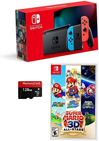 Newest Nintendo Switch 3 Items Bundle: Nintendo Switch Console Neon Red and Blue Joy-con,Super Mario 3-D All-Stars ;Woov Micro SD 128 GB