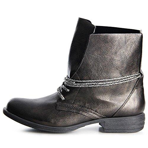 topschuhe24 953 Damen Worker Boots Stiefeletten Silber