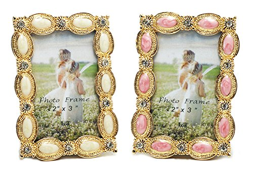 L&T Mini Metal Picture Frame Gold Plated with Enamel and Crystals, Set of Pink and Cream White, for 2x3 inch photos