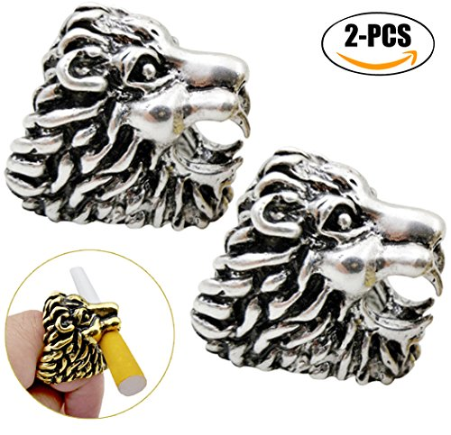 Fansport Cigarette Holder Ring Hands Free Lion Shaped Smoking Rings Cigarette Rings for Game Players (Silver)