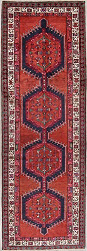 Rug Source One-of-a-Kind Meshkin Traditional Hand Knotted Oriental Vintage Persian Worn Rug Runner 10 ft Red (10' 6