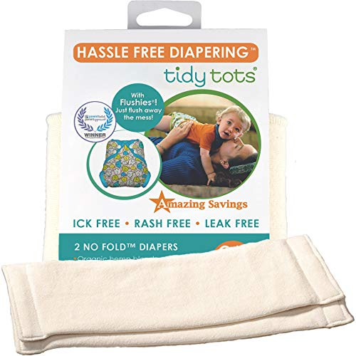 Tidy Tots Diapers Hassle Free 4-layer Organic Hemp No Fold Diaper 2 Pack O|S