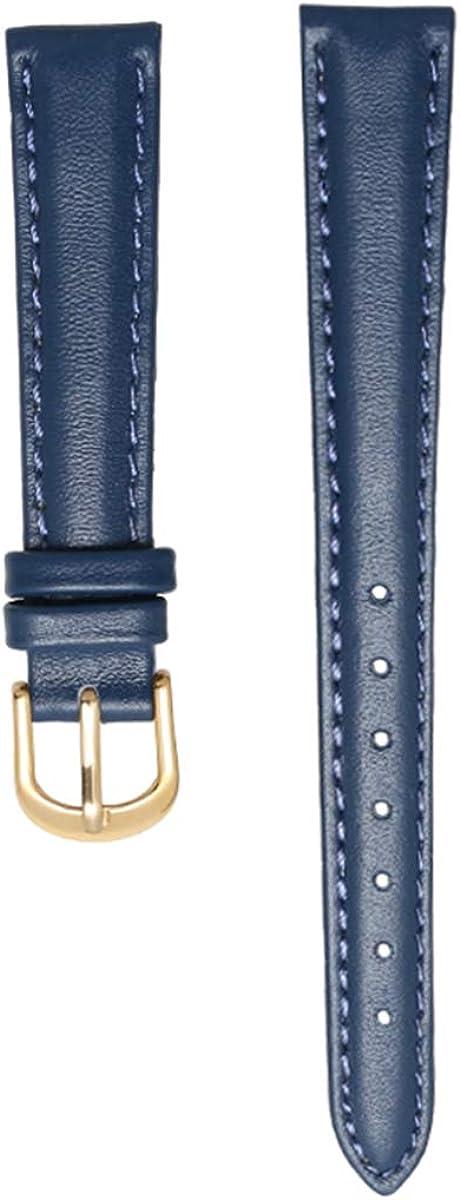 Pulsera de Cuero Genuino para Mujer Banda de Reloj Relojes de Pulsera Lisos Azul Rosa Gris Color Correa de Reloj 14-20mm Banda Suave