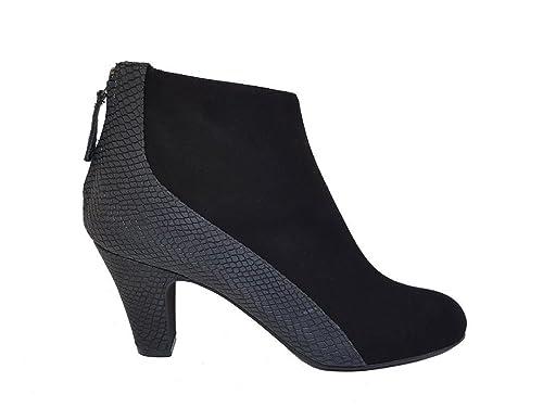 Botines Negros de Mujer en Piel con Cierre de Cremallera + Tacon Botier 6 cm y Punta Redonda Cerrada: Amazon.es: Zapatos y complementos