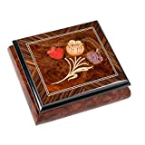 Olmo Tulips Italian Hand Crafted Inlaid Elm Wood Musical Box Plays Tune Moonlight Sonata