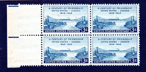 Postage Stamps United States. Block of Four 3 Cents Blue, Niagara Railway Suspension Bridge Stamps, Dated 1948, Scott #961.