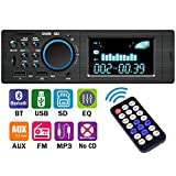 NICPAY Car Stereo Receiver with Bluetooth,Single Din LCD Car Radio,Multimedia Car Audio,Built-in Microphone,USB/TF Slot/FM/WMA/MP3 Player,Wireless Remote Control