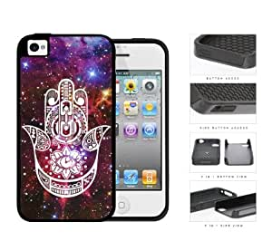 Colorful Hamsa Hand Nebula Series 2-Piece Dual Layer High Impact Black Silicone Cell Phone Case iPhone 4 4s (white)