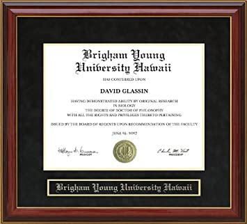 amazon com brigham young university hawaii byuh diploma frame