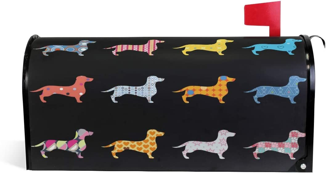 """WOOR Decorative Dogs Dachshund Magnetic Mailbox Cover MailWraps Garden Yard Home Decor for Outside Standard Size-18""""x 20.8"""""""