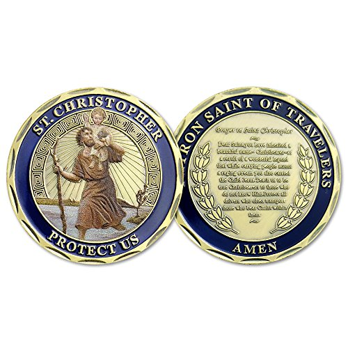 Indeep St Christopher Challenge Coin Protect Us Patron Saint Of Travelers (Medal Coin Challenge)