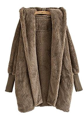 Luodemiss Women's Winter Thick Warm Fleece Shearling Open Front Cardigan Coat Hooded Jacket