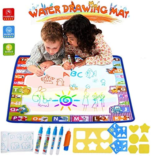 HUALEDI [Large size] doodle matsMagic Mat Water drawing doodle mat toddlerdoodle mats in 6 Colors [More tool] 4 Magic Pens 1 Brush[30X30 In] gift/toys 1/2/3/4 year old boy