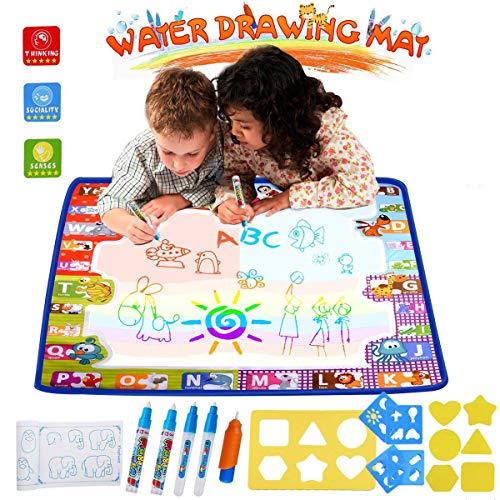 HUALEDI [Large size] aqua doodle mats,Aqua Magic Mat, Water drawing doodle mat toddler,doodle mats in 6 Colors [More tool] 4 Magic Pens 1 Brush[30X30 In] gift/toys 1/2/3/4 year old boy