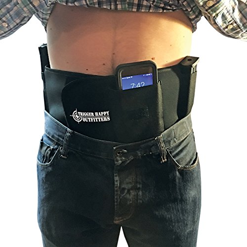 Belly Band Holster ? Concealed Carry ALWAYS PROTECT YOUR LOVED ONES AND NEVER WORRY ABOUT SAFTEY AND SECURITY AGAIN ? Fits Snug And Soft Around The Waist ? LUMBAR SUPPORT ? by Trigger Happy Outfitters
