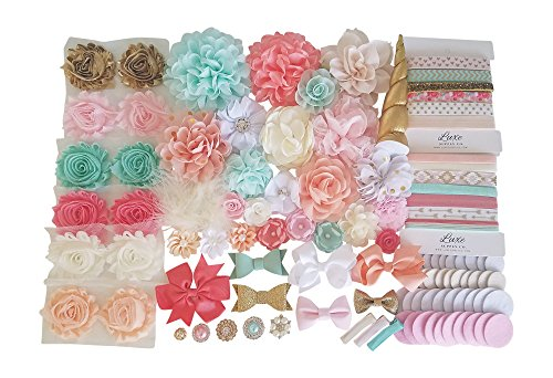 DIY Headband Kit - Unicorn Collection Kit - Makes 27 Headbands and 3 Clips - Gold, Pink, Peach, Mint, White, Ivory Luxe Headband Kit - Baby Shower Headband Station - Babies and Toddlers Party Supplies