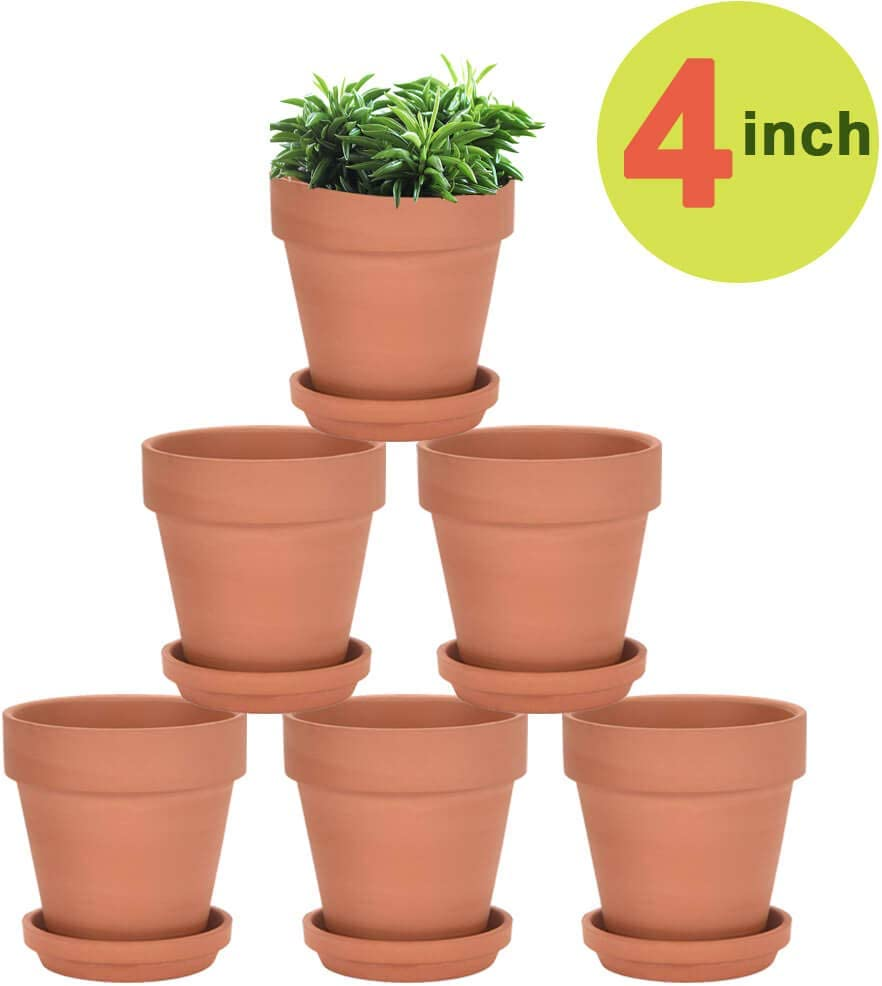 4 Inch Terra Cotta Pots with Saucer – 6 Pack Clay Flower Pots with Drainage, Great for Plants, Crafts, Wedding Favor 4 inch