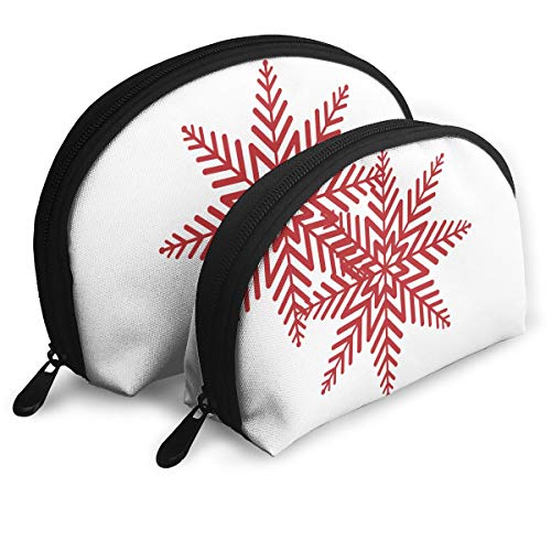 Jingclor Pack of 2 Womens Shell Cosmetic Bags - Red Christmas Snowflakes Clipart Portable Travel Makeup Handbag Waterproof Toiletry Organizer Storage Bags