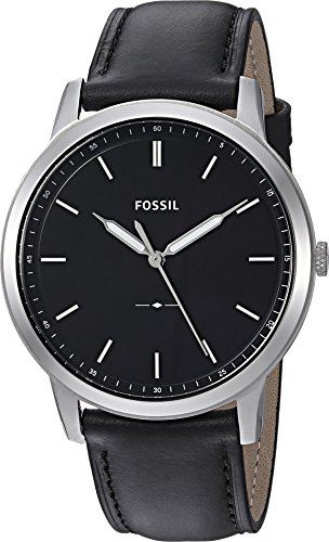 Fossil Men's 'The Minimalist' Quartz Stainless Steel and Leather Casual Watch, Color:Black (Model: FS5398)
