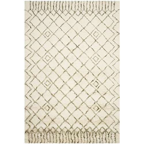Safavieh Casablanca Shag Collection CSB894A Handmade Ivory and Green Premium Wool & Cotton Area Rug (5' x 8') Hand Woven Wool Shag Rug