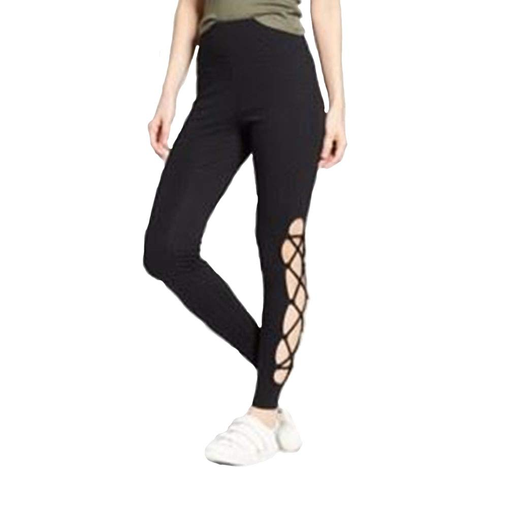 458df4bc4ce84 Mossimo Supply Co Women's Higth Waisted Lace Up Leggings - Black - at  Amazon Women's Clothing store: