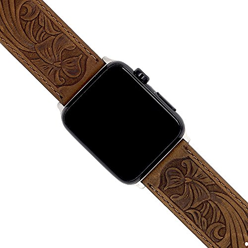 Apple Watch Leather Carved Bands, Ezzdo Handmade Bump Retro Genuine Leather Flower Replacement Strap For Men Women Brown Bracelet For Iwatch 38mm 42mm Series 1 / 2 / 3 (Retro Brown (Carved Band)
