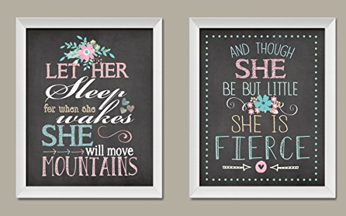 Gango Home Décor Let Her Sleep for When She Wakes She Will Move Mountains and Though She Be But Little She is Fierce; Nursery Decor; Two 11x14in White Framed Prints; - Sleep Framed