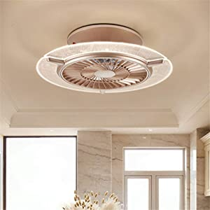 BAYCHEER LED 23.5 inch Metal Flush Mount Contemporary Round Dining Table Ceiling Fan Light Fixture with Remote Control for Bedroom, Living Room,Restaurant,Gold Stepless Dimming