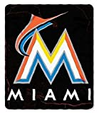 "MLB Officially Licensed Miami Marlins Lightning Style Fleece Blanket Throw (50"" X 60"")"