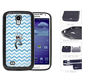 Light Blue and White Chevron Pattern with Silver Deer Buck w/ Bow Samsung Galaxy S4 i9500 (2-piece) Dual Layer High Impact Cell Phone Case