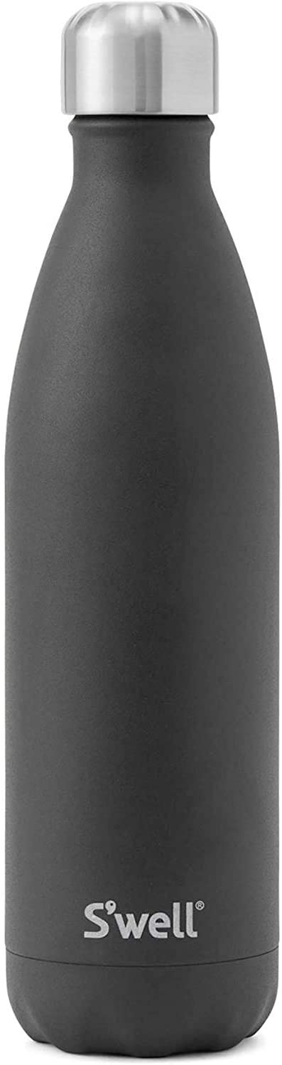 S'well Stainless Steel Water Bottle - 17 Fl Oz - Onyx - Triple-Layered Vacuum-Insulated Containers Keeps Drinks Cold for 41 Hours and Hot for 18 - with No Condensation - BPA Free Water Bottle