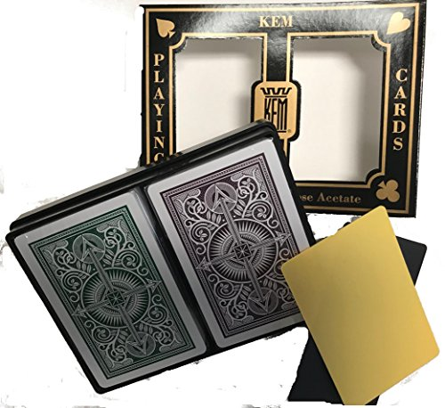 Kem Playing Cards - Brown and Green Narrow Deck with 2 Free Cut Cards