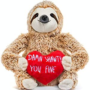Light Autumn Valentines Day Stuffed Animals – Girlfriend Gifts – Valentine Sloth Bear for Her – Cute Funny Vday Gifts for Boyfriend