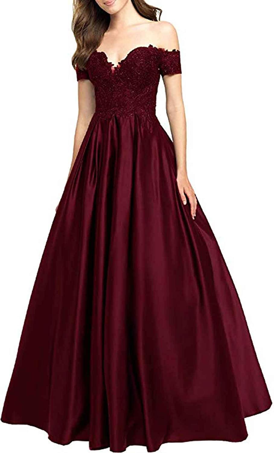 Burgundy Rmaytiked Womens Off The Shoulder Prom Dresses Long 2019 A Line Satin Evening Formal Gown with Lace Applique