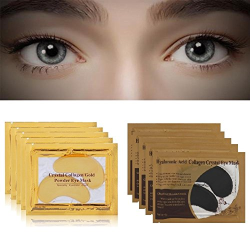 10 Pairs Crystal Collagen Cold Powder Eye Masks, 5Pcs Gold & 5Pcs Black, Eyelid Patch Circle Under Eye Treatment Pad Patches Masks Bag, Anti Ageing Wrinkle, Remove Dark Circles Treatment Eye Mask 12 Pads