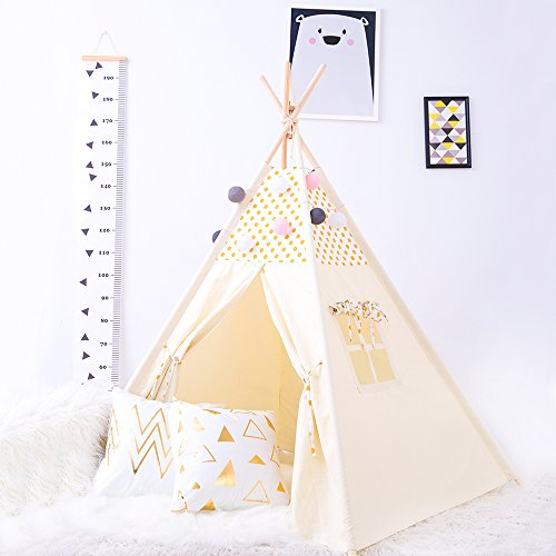 Kids Foldable Teepee Children Playhouse Kids Play Room Furniture With Carry Case for Indoor Outdoor, Golden Point By HAN-MM