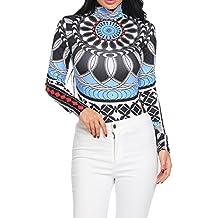 Gumod Women Tattoo Shirt Sexy Long Sleeve Tribal Print Slim Fit Basic Turtleneck Top